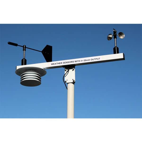 Intech Weather Station WS3-WD-THP-TB-CL (Wind Speed, Wind Direction, Temperature, Humidity and Barometric Pressure sensors housed in a Solar Radiation Shield mounted on T-bar)